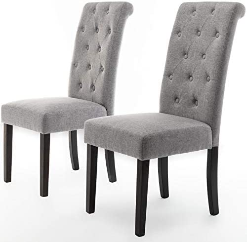 DininL Fur Dining Chair Kitchen Chairs Set of 2 Modern Dining Room Side Chairs Fabric Cushion Seat Back Light Gery