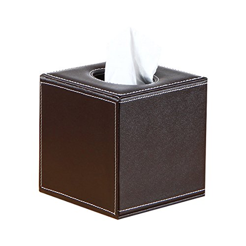 Union Toilet Paper Holder (UnionBasic PU Leather Refillable Square Roll Facial Tissue & Napkin Holder Box Tray Pumping for Home Office Car Automotive (Coffee))