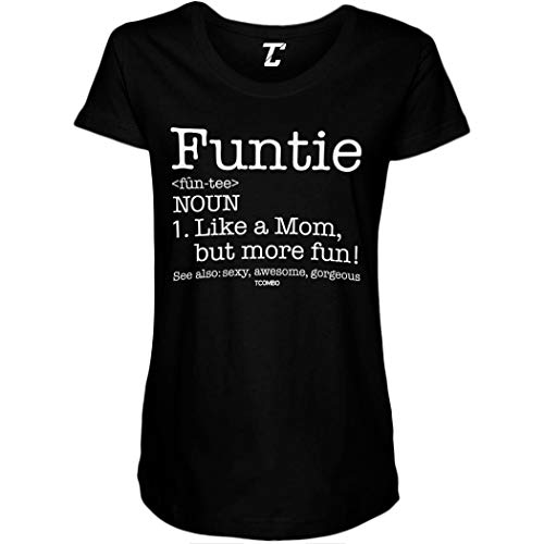 Funtie Definition - Best Aunt Ever Side Ruched Maternity T-Shirt (Black, Medium)