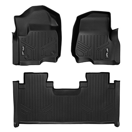 MAXFLOORMAT Floor Mats 2 Row Set Black for 2017-2018 Ford F-250/F-350 Super Duty SuperCab With 1st Row Bench Seat