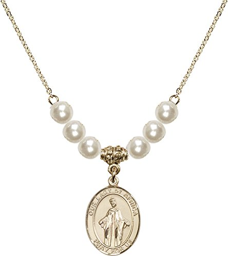 18-Inch Hamilton Gold Plated Necklace with 6mm Faux-Pearl Beads and Gold Filled Our Lady of Africa Charm. by F A Dumont