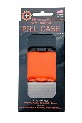 (Sherbet Orange - Slim Traveler Pill Box - Small Pill case for Travel, Purse, Bag, Pocket (3 Pack, Jet Black, Sherbet Orange, Smokey Grey))