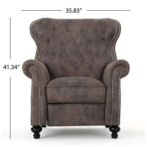 Farmhouse Accent Chairs Waldo Tufted Wingback Recliner Chair(Warm Stone) farmhouse accent chairs