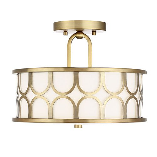 251 First Selby Natural Brass 13-Inch Two-Light Semi Flush Mount Drum with White Fabric Shade