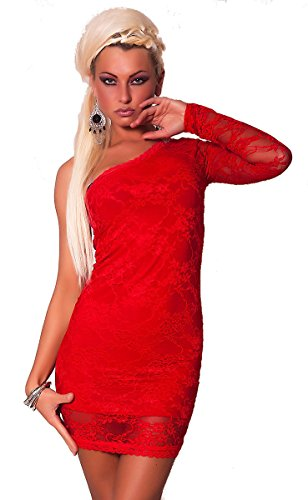 Shoulder Women's Dress One Lace Sleeve Long Red Cw6xwH