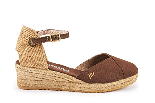 Ankle Viscata in 2 Viscata Espadrilles Strap Pubol Spain Barcelona Toe Closed marrón Inch Heel with Made Classic TqrgtTw