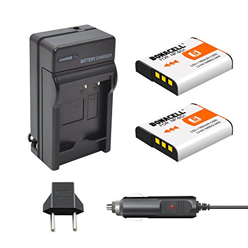 Bonacell 2 Pack 1600mAh Replacement Sony NP-BG1 Battery and Charger Kit for Sony Cyber-Shot DSC-W220, DSC-H50, DSC-W150, DSC-H55, DSC-H3,DSC-H10, DSC-H20, DSC-H50, DSC-HX7V, DSC-HX9V DSC-W80 and More