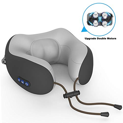 Neck Massager, MANLI Cordless U Shape Electric Rechargeable Travel Pillow Nap Memory Pillow Massager with Timing Mode, Double Movement, Two-Ways Kneading Massage