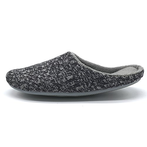 YOUTOUCHLIFE Womens Cable Knit Slippers, Winter Comfortable Memory Foam Indoor Anti-Slip House Shoes Dark Gray