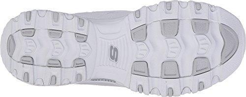 Skechers Women's D'Lites Memory Foam Lace-up Sneaker,White Silver,7 M US by Skechers (Image #2)