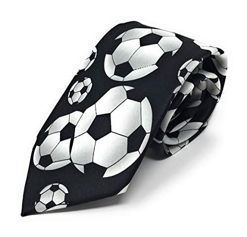Parquet Men's Novelty Fashion Neckties with Gift Box - Multiple Patterns to Select From! (Soccer - Black - Large Print)