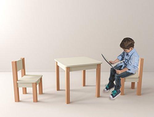 Table pour enfants avec 2/chaises/ /en 100/% h/être/ /Blanc//Naturel/ /3/pi/èces: Groupe de si/èges pour enfants/ /Table 2/chaises//meubles pour enfants pour ga