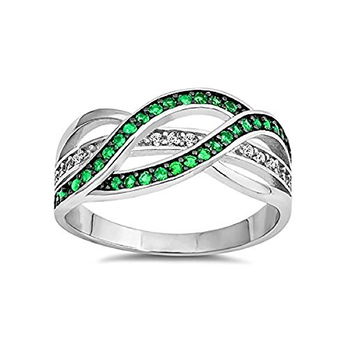 Half Eternity Weave Knot Ring Crisscross Crossover Simulated Green Emerald Round CZ 925 Sterling Silver, Size-8