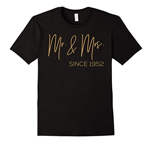 Mens 65th Wedding Anniversary 1952 Gift Ideas Couples T shirt Large Black