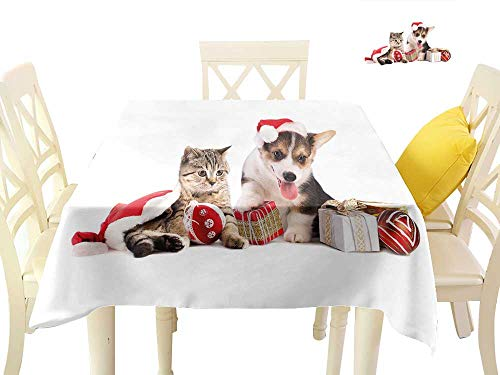 Angoueleven Christmas,Wholesale tablecloths Dog and Cat in Santa Hats with Surprise Boxes and Balls New Year Celebration,Modern Dining Table Cover W 70
