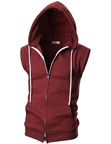 OHOO Mens Slim Fit Sleeveless Lightweight Zip-up Hooded Vest with Double Slide Zipper/DCF011-BURGUNDY-S