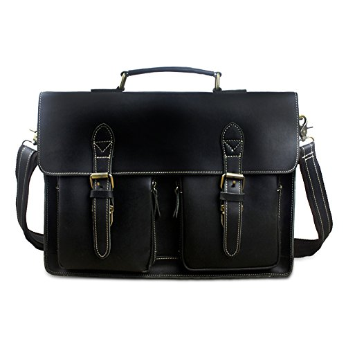 Best Mens Briefcase Italian Genuine Leather,Shoulder Computer/Laptop Bag for (Black Italian Briefcase)