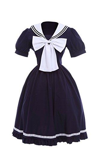 [Nuoqi Sweet Lolita Dress Cotton Doll Collar School Navy Blue Sailor Uniform] (Preppy School Girl Costumes)