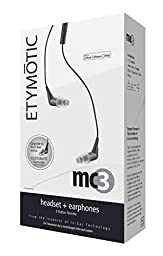 Etymotic Research MC3 Noise Isolating In-Ear Earphones with 3 Button Headset Control for iPad, iPhone, iPod Touch, Black