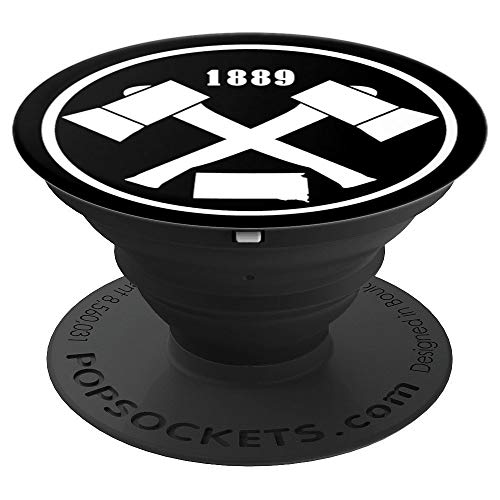 Vintage South Dakota State Map Established 1889 Crossed Axe - PopSockets Grip and Stand for Phones and Tablets