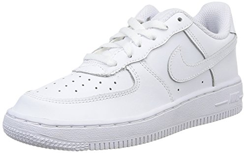 Nike Kids Force 1  White/White/White Basketball Shoe 1 Kids