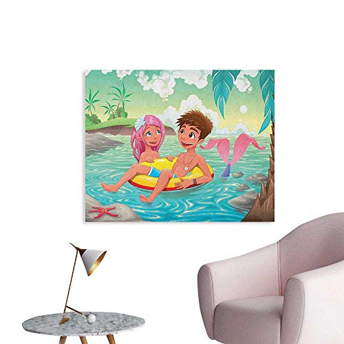 Anzhutwelve Mermaid Wall Paper Teen Boy and Cute Mermaid Swimming Together in Tropical Island Fun Love Valentines Art Poster Multicolor W32 -