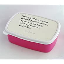 """Lunch box with Seeds of great discoveries are constantly floating around us, but they only take root in minds well prepared to receive them."""","""