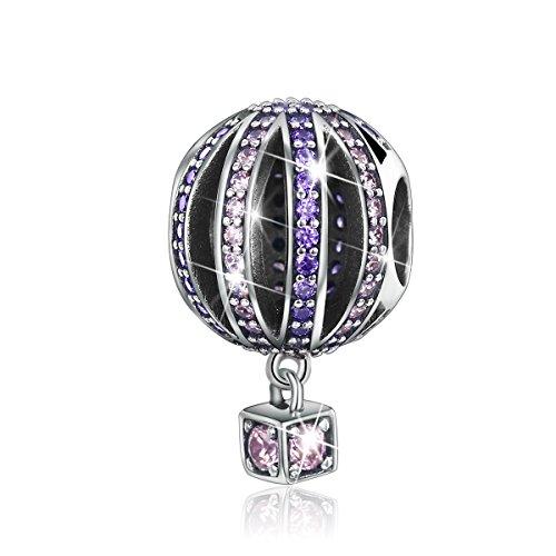 - BAMOER Romantic Sterling Silver Hot Air Balloon Purple CZ Charm Pendant for DIY Charm Bracelet