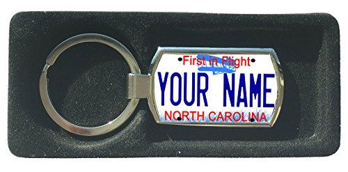 BleuReign(TM) Personalized Custom Name North Carolina State License Plate Metal Keychain ()