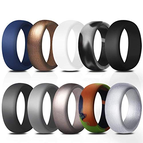 Fynix Silicone Wedding Ring for Men, 10 Pack Affordable Silicone Rubber Wedding Bands Durable Comfortable Antibacterial Rings, Black White Blue Silver Gray …