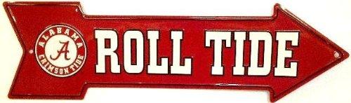 NCAA University of Alabama Crimson Tide Roll Arrow Aluminum Metal Sign 6 X 20