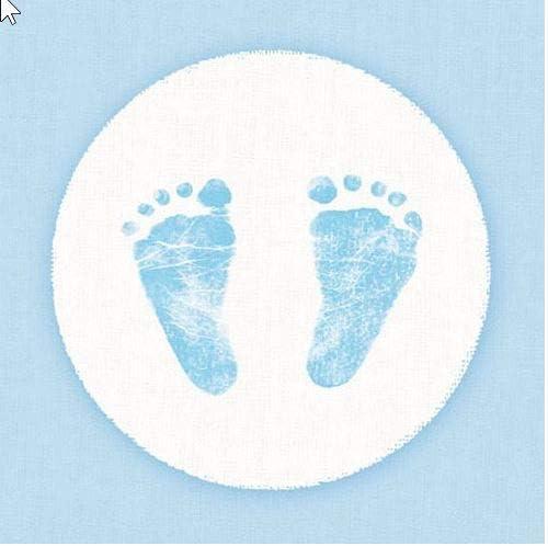 Tischband  Tischdekoration Tischdeko  Geburt Baby Füße blau