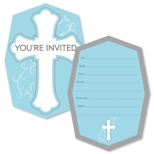 - Little Miracle Boy Blue & Gray Cross - Shaped Fill-in Invitations - Baptism or Baby Shower Invitation Cards with Envelopes - Set of 12