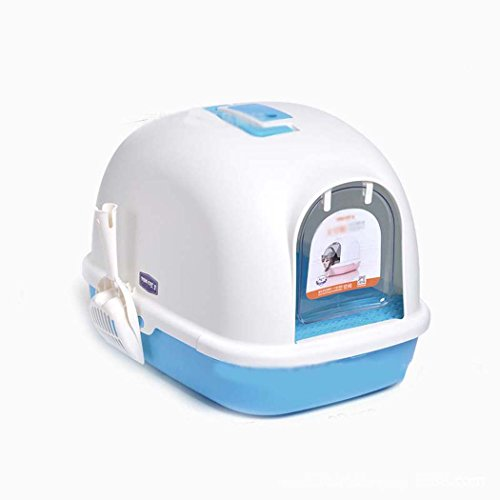 - DSHBB Cat Litter Box,cat Toilet,less Litter Tray Sifting Toilet Box,cat Litter Tray With Lid,Front-Entry Configurable (Color : Blue)