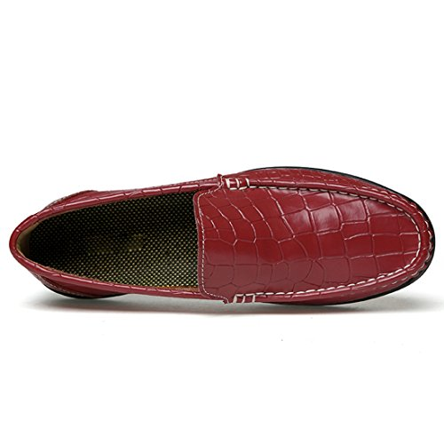 Tda Mens Slip-on Synthétique Penny Mocassins Occasionnels Bateau Chaussures Rouge