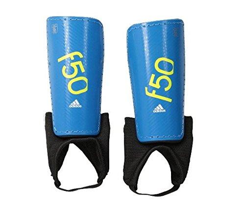 adidas Performance F50 Youth Shin Guards, Solar Blue/Semi Solar Yellow, Medium