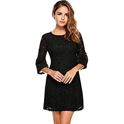 Zeagoo Women's 3/4 Flare Sleeve Floral Lace A-Line Cocktail Party Dress for cheap