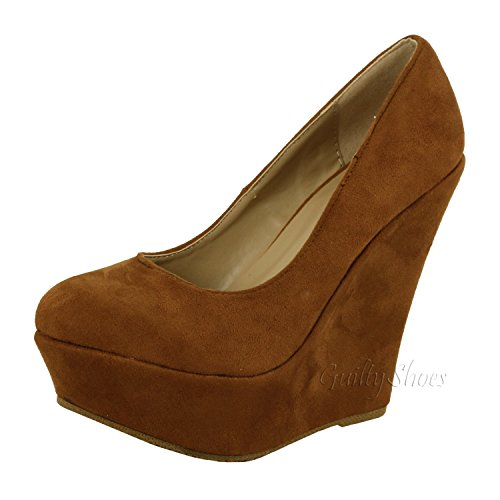Delicacy Trendy-33 Slip On Platform High Heel Pump - Round Toe Wedges Shoes for Women, Tan Suede, 8 (Heel Suede High Brown Pumps)