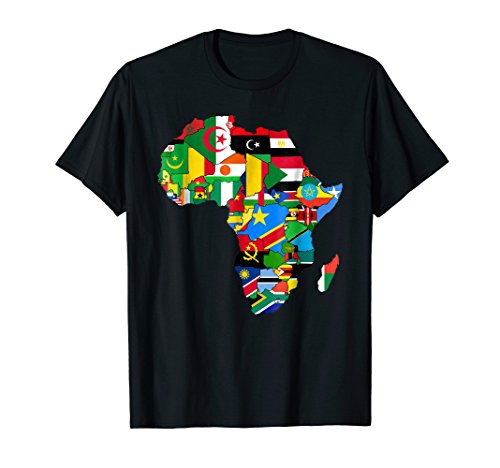 - Mens Africa map t-shirt African Country Flag Collage t-shirt 2XL Black
