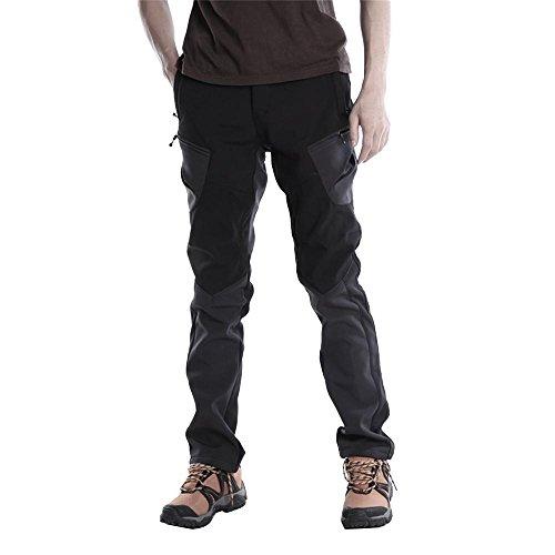 KORAMAN Men's Outdoor Windproof Softshell Warm Fleece Liner Mountain Hiking Ski Pants Black US M - Ski Pants Men Elastic Waist