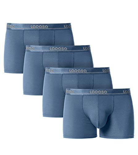 LAPASA Men's Modal Boxer Briefs Bulge Enhancing Pouch Trunk Underwear No Fly 4 Pack M02 Navy
