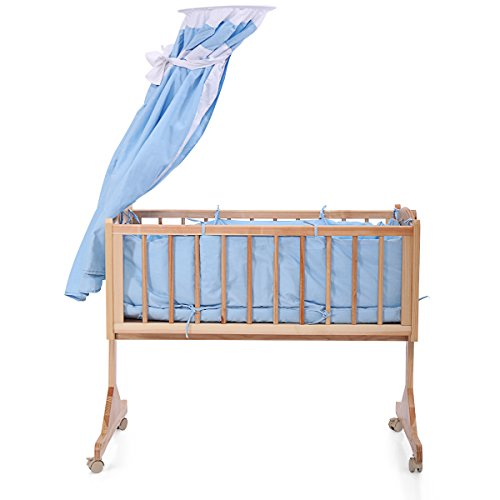 Review LAZYMOON Pine Wood Baby Crib Child Cradle Nursery Side Bed Toddler Daybed Furniture w/ Canopy, Blue