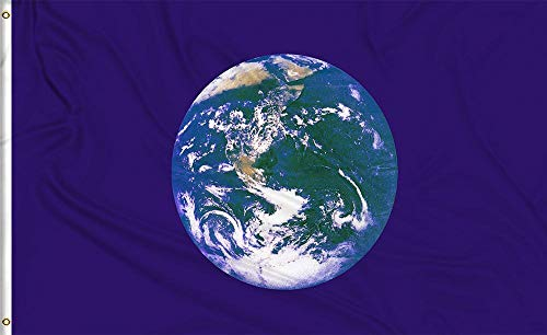 Aimto 3x5 FT Earth Flag - Double Sided Bright Colors and Anti-Fading Materials - Earth Day Flag Polyester Canvas and Brass Buttonhole - Quality Assurance