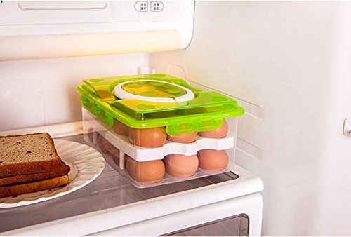 RMay Store HOTUMN Egg Carrier Egg Container 2 Tiers Eggs Holder with Handle Holds 24 Eggs for Refrigerator Freezer Storage (Green) by RMay Store (Image #4)