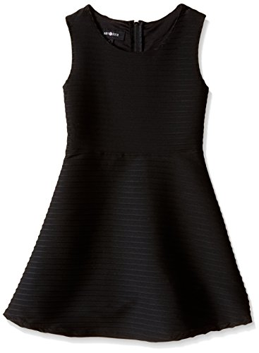Amy Byer Big Girls Sleeveless Textured Stripe Skater Dress, Black, 10