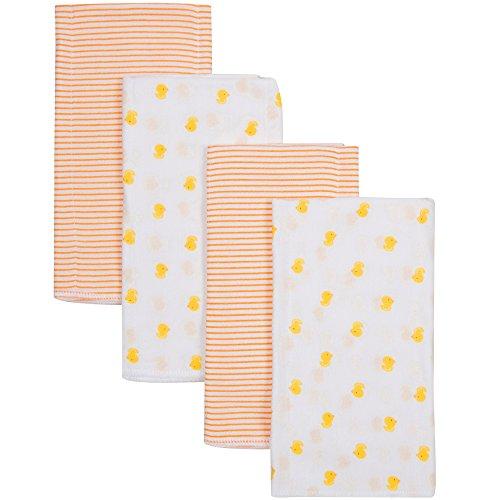 Duck Newborn Burp Cloth (Gerber Baby Newborn Flannel Burpcloths, Unisex, One Size, 4 Pack, Duck/Orange Stripe)