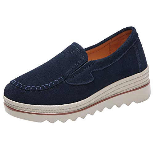 QueenMM Casual Comfort Loafers for Women Lightweight Leather/Suede Slip-On Round Toe Wedge Sneakers Walking Shoes (Globe Shoes High Top)