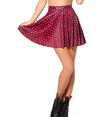 Joyhy Women's Cute Digital 3D Printed Stretchy Flared Casual Mini Skater Skirt