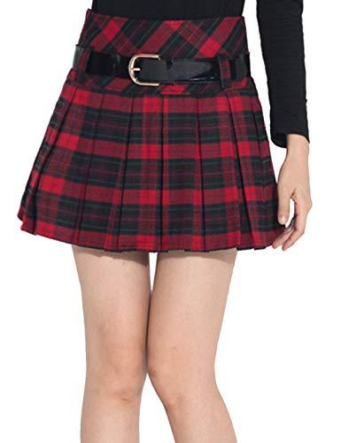 Sematomala Women's Plaid Red Green Checkered Grid A-line Mini Kilt Pleated School Skirts(WR,M) ()
