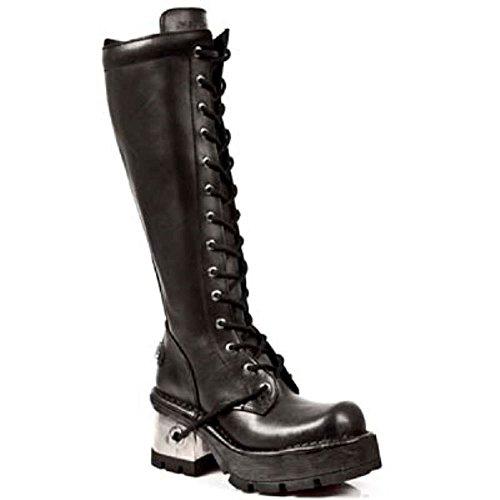 New Rock emo Bottes talons lacets genou 236 Noir métallique M femme punk s1 cuir compensés noir UFwrnxqwd5